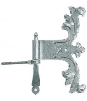 Möbelband mit Stützkegel aus Schmiedeeisen, antik-grau (thermopatiniert®)